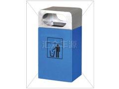 蓝色不锈钢混合单桶垃圾桶