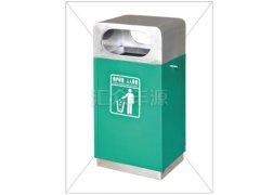 高端墨绿色单桶不锈钢垃圾桶